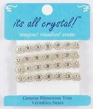 Genuine Rhinestones Trim Braid Strap - Gold Finish - Flowers- 1 yrd/pk. RST3966