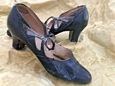 Vintage Navy Blue Leather Heels Shoes 1930s