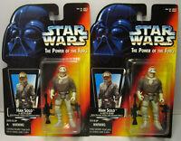 BOTH 1995 Kenner Star Wars Han Solo Hoth Var. POTF 2 Red Card Sealed Figures MOC