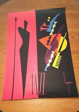 Jazz 1990 Singer Instruments Lepas France Music Poster Art Deco 27X40