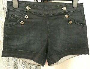 """( Ref 6266 ) New Look - Size 10T W 30"""" - Ladies Blue Cotton Denim Summer Shorts"""