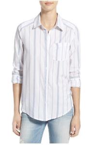 BP BRASS PLUM Nordstrom White Striped Cotton Button Shirt XS Extra Small