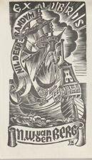 ex-libris Van Der Berg (bateau) bois, 1946. Pays-bas