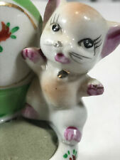 Vintage Made in Japan Pin Cushion Cat on Chair Porcelain Sewing Seamstress