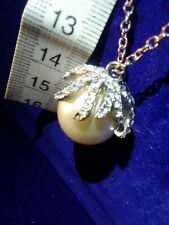 "& Silver-Tone Necklace 13""Drop Length 'River Island' Faux Pearl Pave Crystal"