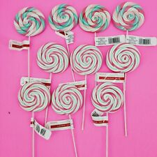 10 Candy Lollipop Christmas Pick Tree Wreath Decor Striped Pink Ashland NEW