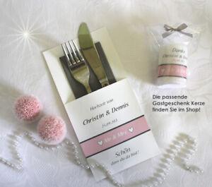 Bestecktasche zur Hochzeit grau-rosa, personalisiert, Design 402