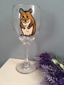 Hamster Wine Glass Hand Painted Glass Hamster Gift Idea