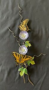 Bovano of Cheshire Enameled Copper Wall Art Butterflies on Morning Glories