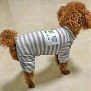 Stripe Dog Pajamas Jumpsuit Pet Puppy Cat Clothes Costume Apparel French Bulldog