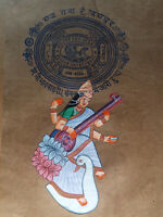 Goddess Saraswati Painting Handmade Miniature Artwork On Stamp Paper