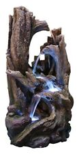 5 Tier Tree Trunk Waterfall Fountain LED Lights Table Indoor Outdoor Yard Patio