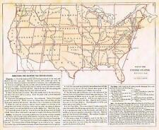 """Warren Map - """"DIRECTIONS FOR DRAWING THE U.S."""" - Hand-Colored Lithograph - 1873"""