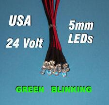 10 FLASHING LEDS 5mm PRE WIRED 24 VOLT GREEN BLINK 24V PREWIRED BLINKING