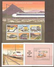 LIBERIA 2001 TRAINS OF THE WORLD 3 SHEETS MNH