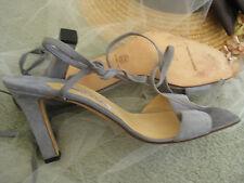 MANOLO BLAHNIK steel blue leather Strappy Cut Out Open Ankle Tie sandal 40.5