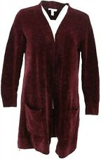 Denim & Co Petite Chenille Long Slv Open Cardigan Deep Burgundy PXL # A311581