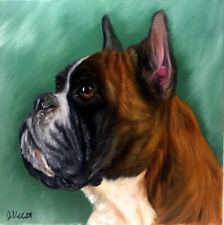Original Boxer Dog Oil Painting Animal Pet Portrait Realism Style