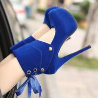 Womens Round Toe Super High Heels Platform Slip On Pumps Stiletto Ankle Boots Sz