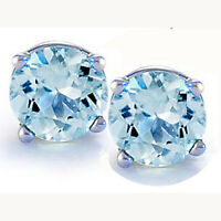 14K GOLD AQUAMARINE 2.86 CARAT ROUND SHAPE STUD EARRINGS - BUY 2 GET 1 FREE!!