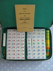 VINTAGE MAH JONG GAME / SET IN A CARRY CASE MAH JONGG COMPLETE WITH 148 TILES