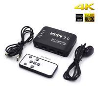 UHD 4K 60Hz HDMI 2.0 Umschalter Hub Box W / Audio 5-Port 5In 1Out +Ir Remote