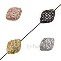Navette Zircon Gemstones Micro Pave Connector Charm Beads Bracelet Silver Gold
