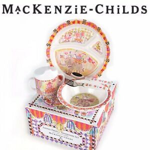Mackenzie-Childs Toddler's Dinnerware Set Plate, Bowl, Cup/Lid in Animal Parade