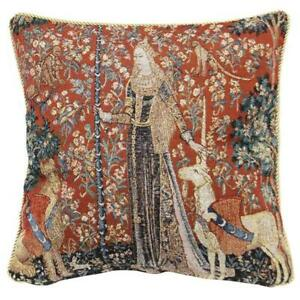 Signare Tapestry Cushion LADY AND UNICORN SENSE OF TOUCH