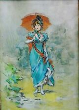 19th Century Oil on Board Lady with Umbrella