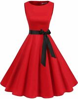 Gardenwed Women's Audrey Hepburn Rockabilly Vintage Dress, Red, Size Medium jWbc