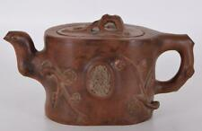 Yixing Teapot Prunus Branch and Blossom Teapot with Six Character mark