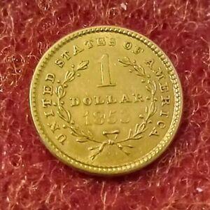 1853 Liberty Head One Dollar Gold Coin.