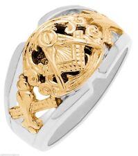 Men's 0.925 Sterling Silver Gold Masonic Freemason Mason Ring