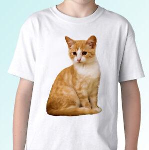Yellow Cat white t shirt animal tee kitty top - mens womens kids baby sizes