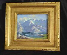 "LISTED Artist PAUL GRIMM Vintage Oil Painting ""SIERRA LAKE"" CIRCA 1940"
