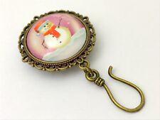 Handmade Magnetic Snowman Portuguese Knitting Pin - ID Badge Holder