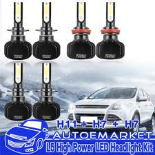 1200W H7+H7+H11 LED Car Headlight Bulbs Kit High Low Beam+Fog Lights 6000K White