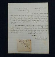 1858 Autographed Letter Thomas G Pratt ( US Senate) & 27th Governor of Maryland