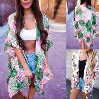 Women Floral Loose Shawl Vintage Kimono Cardigan Boho Chiffon Coat Jacket Blouse