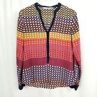 Robert Graham Womens Medium Silk Floral Stripe Semi Sheer Pullover Blouse