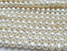 5 strds 5-6mm White Round Freshwater Pearl