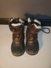 London Fog Toddler Boy's Size 8 Oxford Brown Winter Boots with Faux Fur