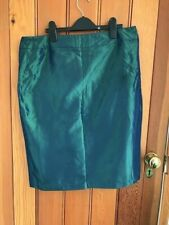 love label shot green satin pencil skirt with bow uk 14 bnwt