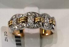 Anello nuovo oro giallo e bianco fedina  18Kt brillanti pavè ct 0.28 - 50%