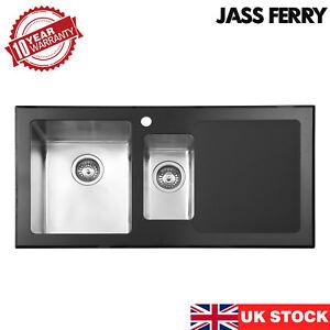 JASSFERRY New Premium Black Glass Top Stainless Steel Kitchen Sink 1.5 Bowl