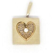 Framed14k Yellow Gold Diamond Heart Pendant