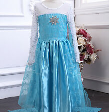 USA Disney Girls Frozen Elsa Blue Halloween Gift Costume Princess Dress 3 4