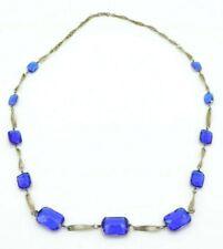 Blue Plastic Rhinestone Graduated Chain Link Art Deco Style Necklace .925 Clasp