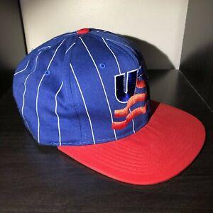 Vintage Starter Team USA Hockey Blue Snapback Baseball Cap Hat